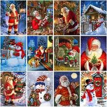 Santa claus diy 5d diamond painting full round drill mosaic