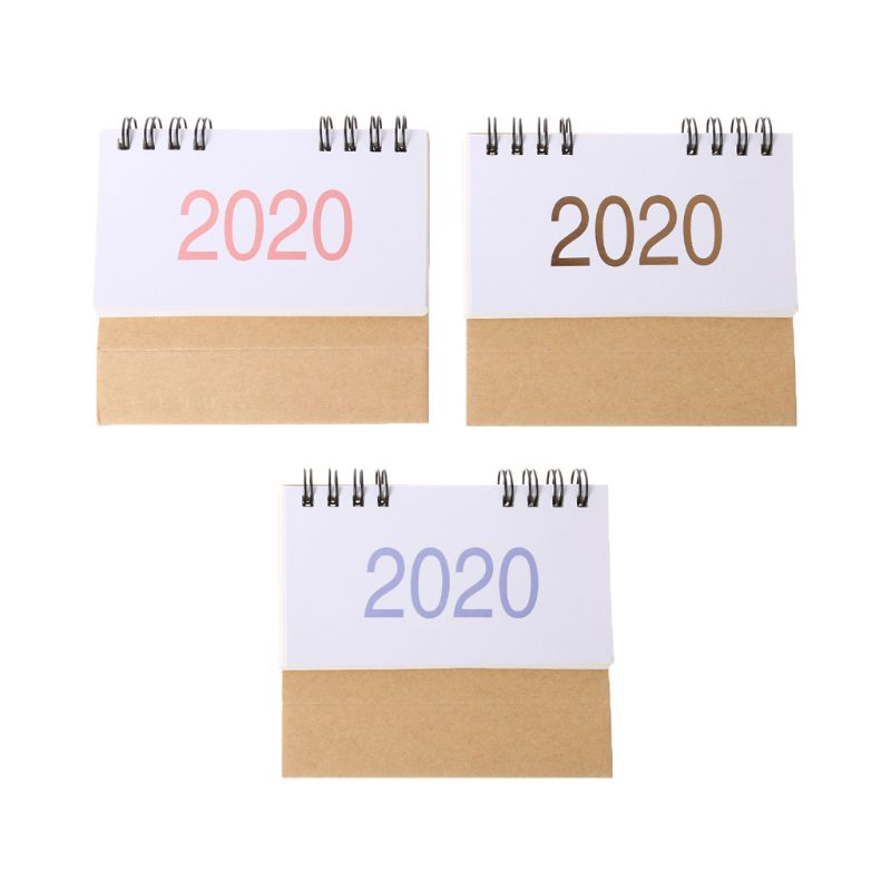 Simple Desktop Standing Paper 2020 Double Coil Calendar Memo Daily Schedule Table Planner Yearly Agenda Desk Organizer W91A