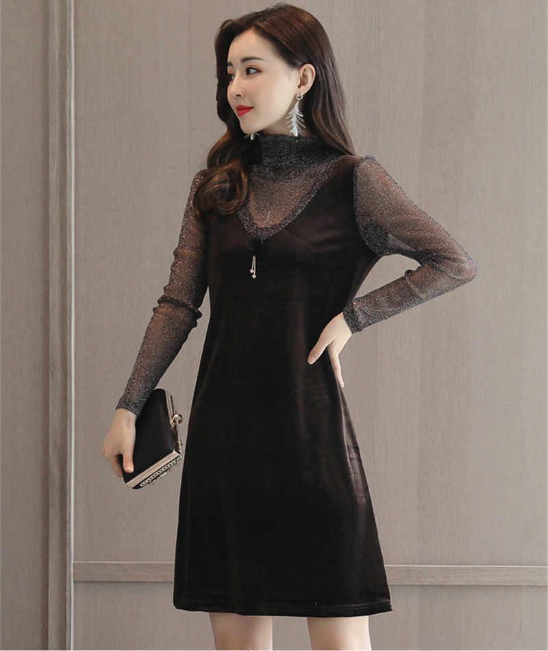 Nouveau 2020 automne Vintage femmes Velours robe femme soirée moulante Sexy robes élégant Velours Vestidos WXF598 es