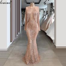 Sparkly Champagner Quasten Prom Kleider Dubai Perlen Abendkleider Frau Party Nacht Lange Formale Event Kleider Vestidos Largos
