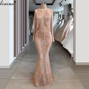 Image 1 - Sparkly Champagner Quasten Prom Kleider Dubai Perlen Abendkleider Frau Party Nacht Lange Formale Event Kleider Vestidos Largos