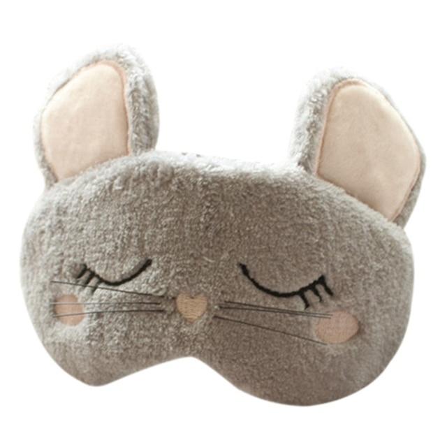 Cut Fluffy Animal Sleeping Eye Mask Nap Cartoon Plush Eye Shade Sleep Mask Black Mask Bandage On Eyes For Sleeping 2