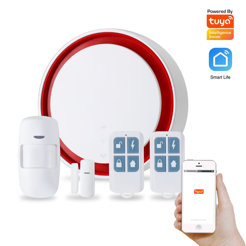 Security Home Tuya Smart Wireless WIFI Alarm System 433mhz GSM Alarm PIR Motion Detector Door Contact Open Sensor Flash Siren