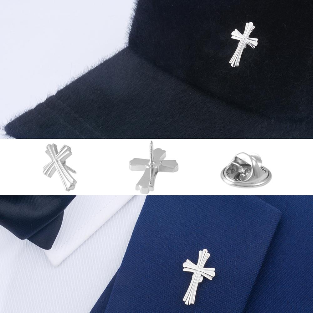 SAVOYSHI Fashion Silver Color Cross Men Lapel Pin Brooches Pins for Mens Coats Collar Pin Womens Hats Dress Bag Accessories