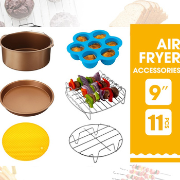 11Pcs Air Fryer Accessories 9 Inch Fit for Air fryer 5.2-6.8QT Baking Basket Pizza Plate Grill Pot Kitchen Cooking Tools 1