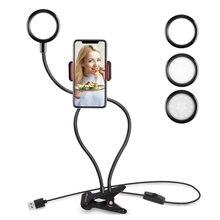 Светодиодный кольцевой светильник для селфи с держателем телефона