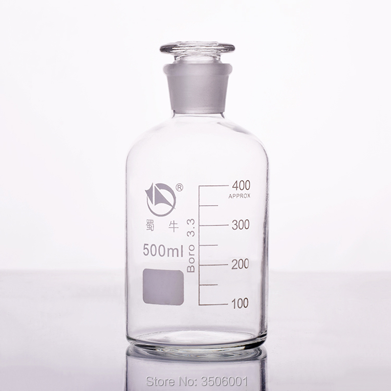 Reagent Bottle,Narrow Neck With Standard Ground Glass Stopper,Clear,Boro. 3.3 Glass,Capacity 500ml,Sample Vials