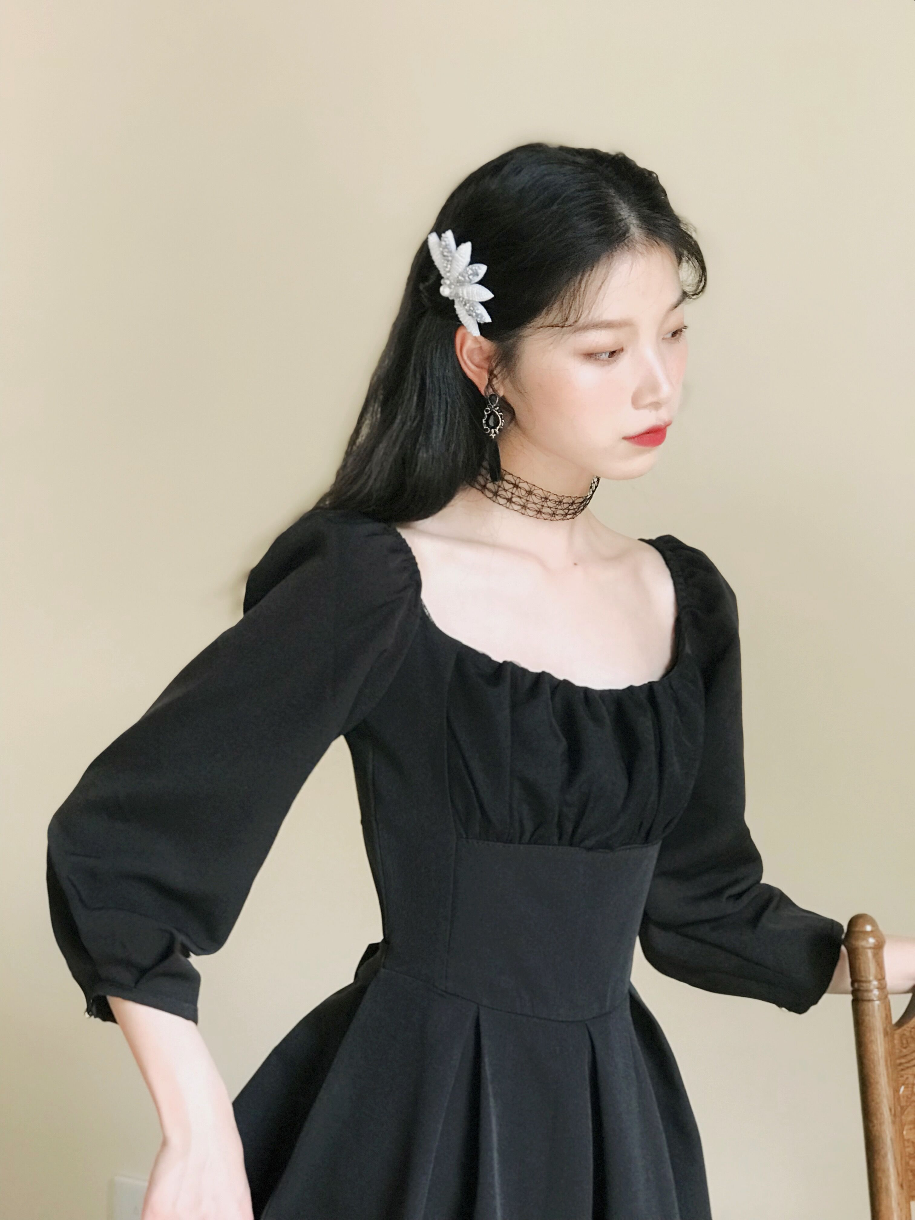 2019 nouvelle mode femmes automne rétro robe robe noire femmes