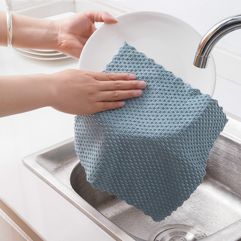 Anti-grease Wiping Rags Kitchen Efficient Super Absorbent Microfiber Cleaning Cloth Home Washing Dish Kitchen Cleaning Towel