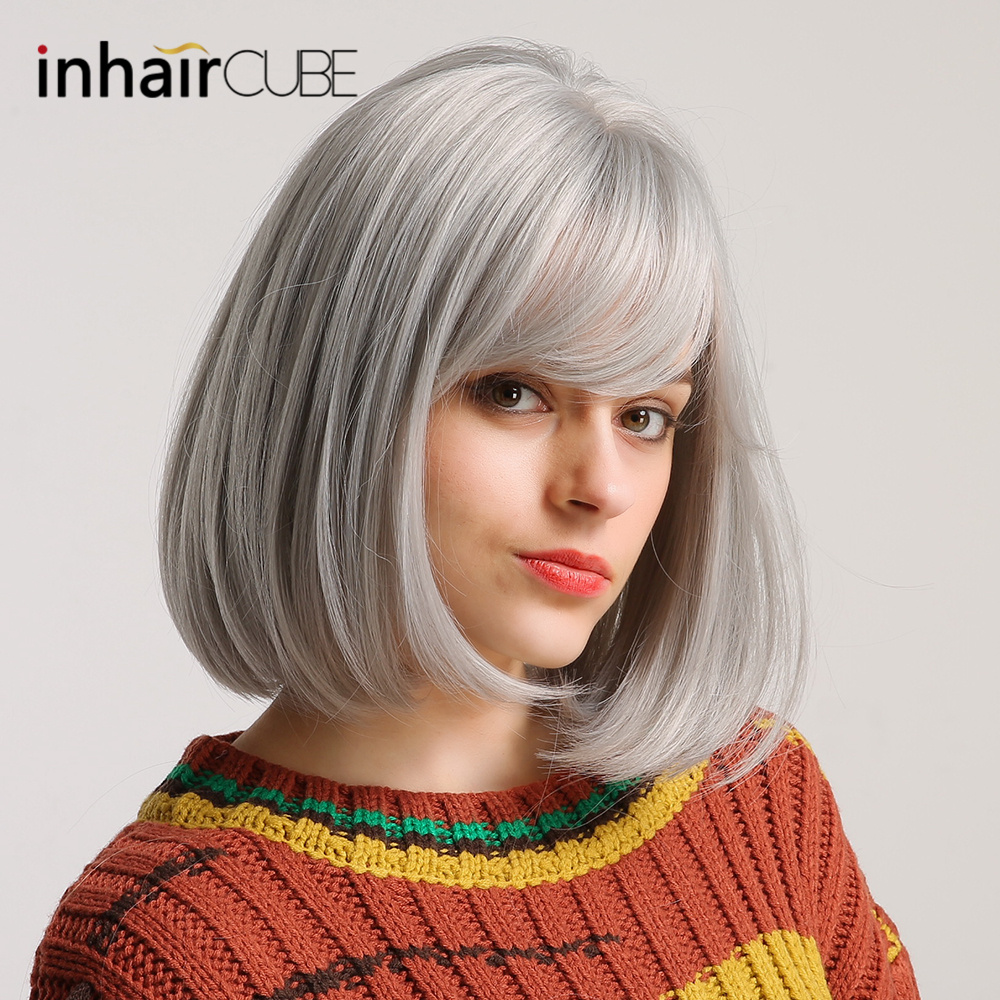 Inhair Cube 12inch Synthetic Wig Silver Gray Short Straight BOBO  Middle-part Flat Bangs For White/Black Women Free Shipping