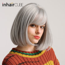 Inhair Cube 12inch Synthetic Wig Silver Gray Short Straight BOBO Middle-part Flat Bangs For White/Black Women Free Shipping(China)