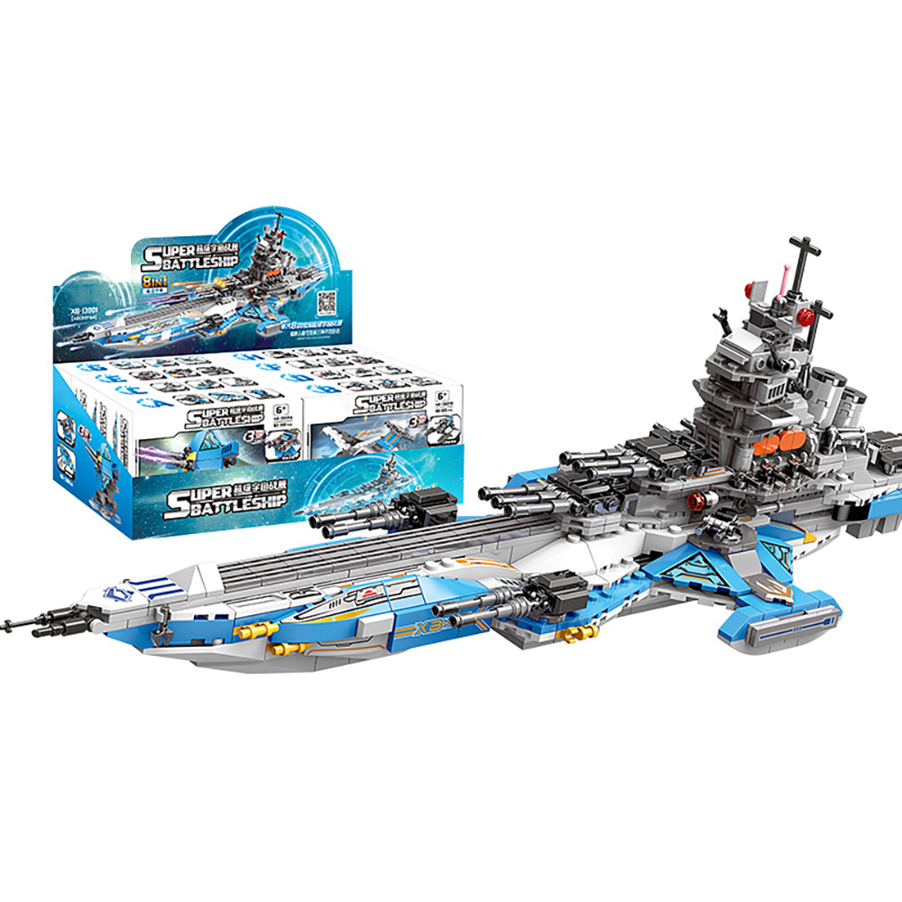 872 PCS 8 IN 1 Children Building Blocks Compatible Bricks Warship Spacecraft Aircraft Kids Toys Boys Birthday Gift ABS Plastic