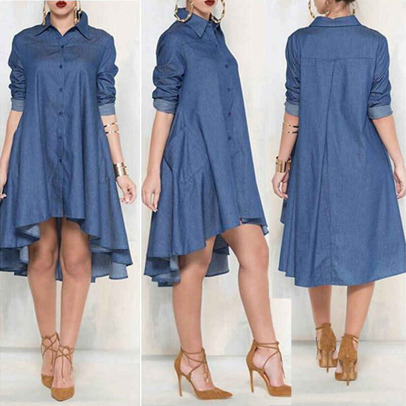 Frauen Casual Lose Shirts Mode Lange Hülse Taste Denim Bluse Shirts Sommerkleid Mini Vestido Cocktail Party Clubwear Shirts