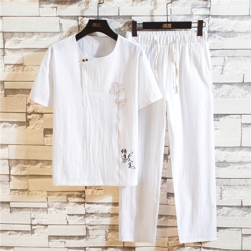 Chinese Style Embroidery Men Sets Summer Pure Cotton Men T Shirts + Trousers Comfortable Breathable Men 2piece Set Size 4XL 5XL