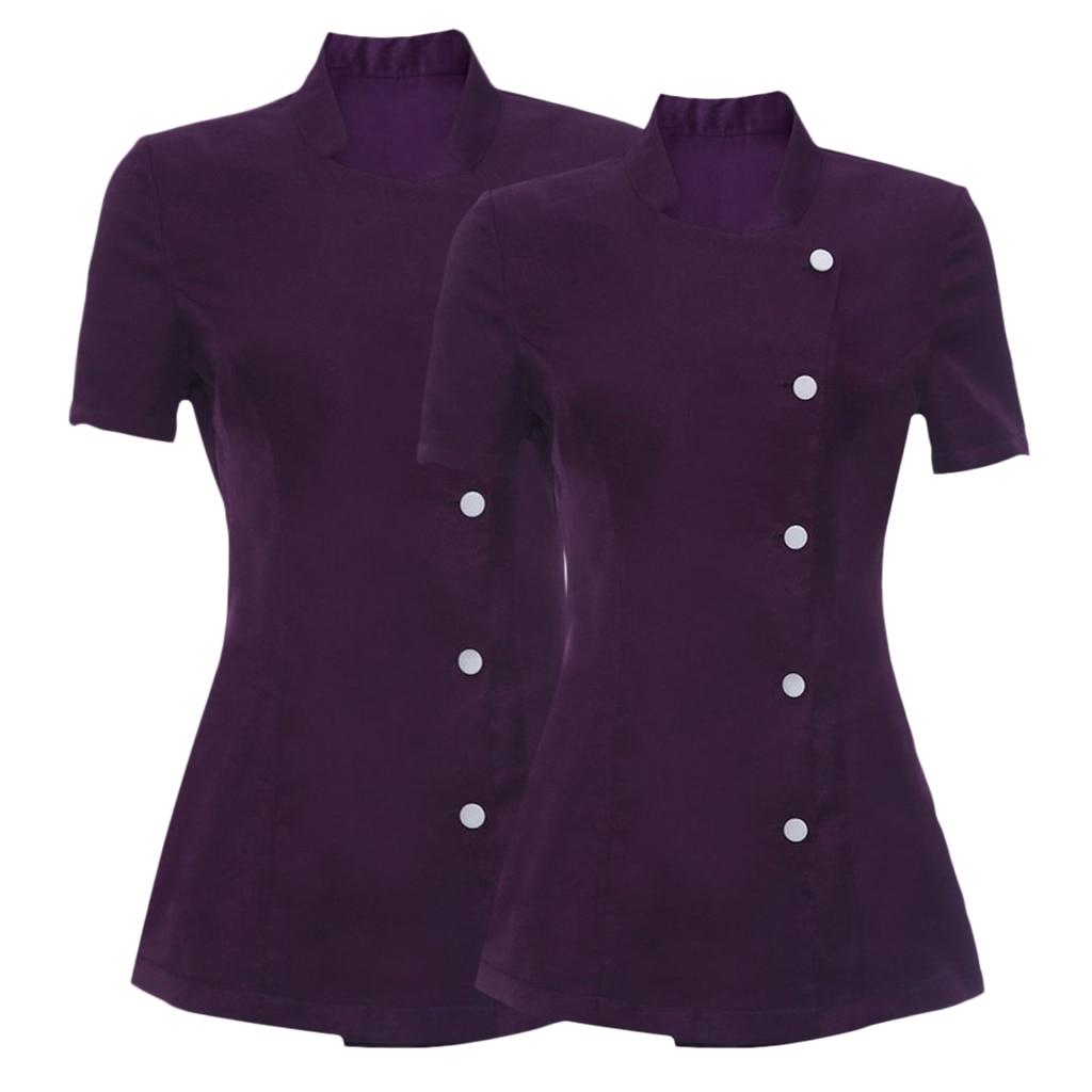 2 Pcs Ladies Work Tunic Workwear Tunic Shirt Mini Dress For Hairdressers Beauticians Nail Bars Massage Waiter Uniforms Purple