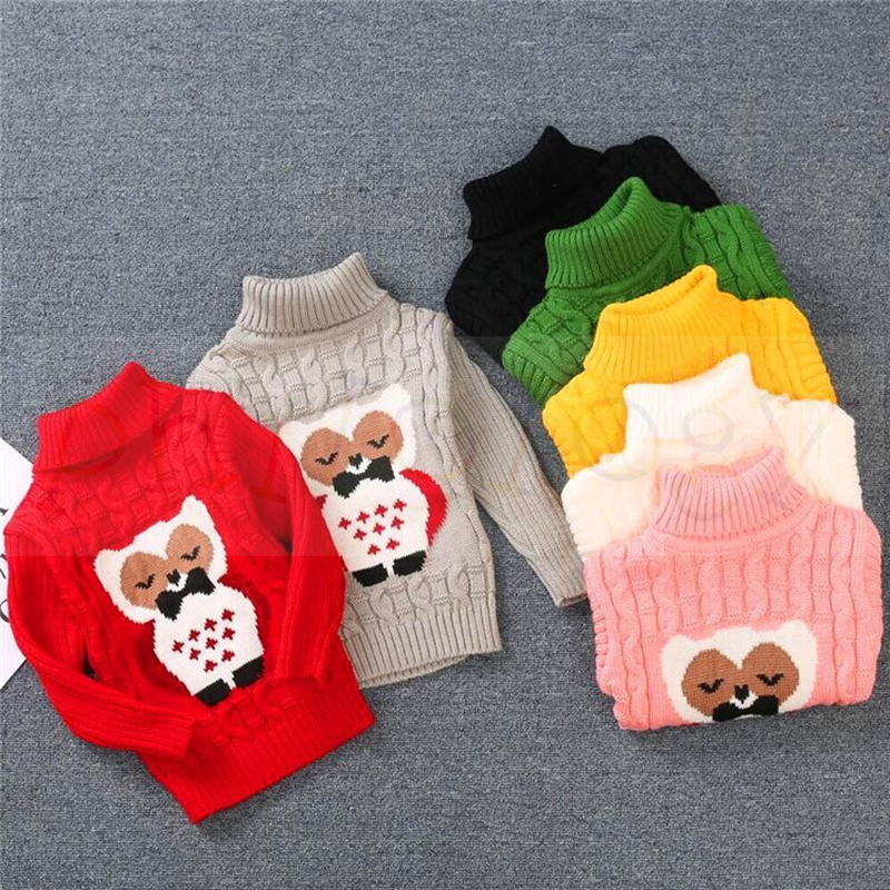 PHILOLOGY 2T-8T owl pattern winter boy girl kid thick Knitted bottoming turtleneck shirts high collar pullover sweater 1