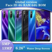 A20 Global Smartphones 13MP Quad Core 4Gb Ram 64Gb Rom Gezicht Id Unlocked Celulars19: 9 Water Drop Screen Android Mobiele Telefoons