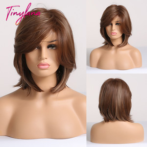 TINY LANA Synthetic Hair Bob Wig with Side Fringe Mixed Brown Color Natural Hairline Heat Resistant Work Party Wig for Women(China)