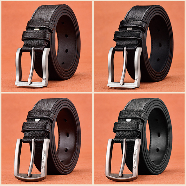 Genuine leather luxury strap male belts for fashion classic vintage pin buckle High Quality 3