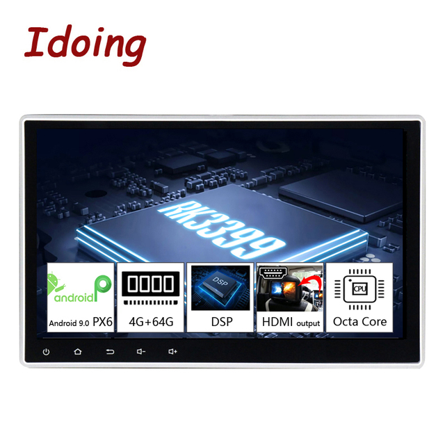 """Idoing10.2""""PX6 4G+64G Android 10 For Universal Car GPS DSP Radio Player IPS Screen Navigation Multimedia Bluetooth No 2 Din DVD"""