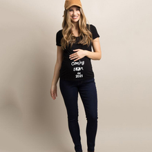 Mom EST. 2021 Pregnancy Announcement Shirt Baby Coming 2021 Announcement Materinity T-Shirts Summer Short Sleeve Tops Tee