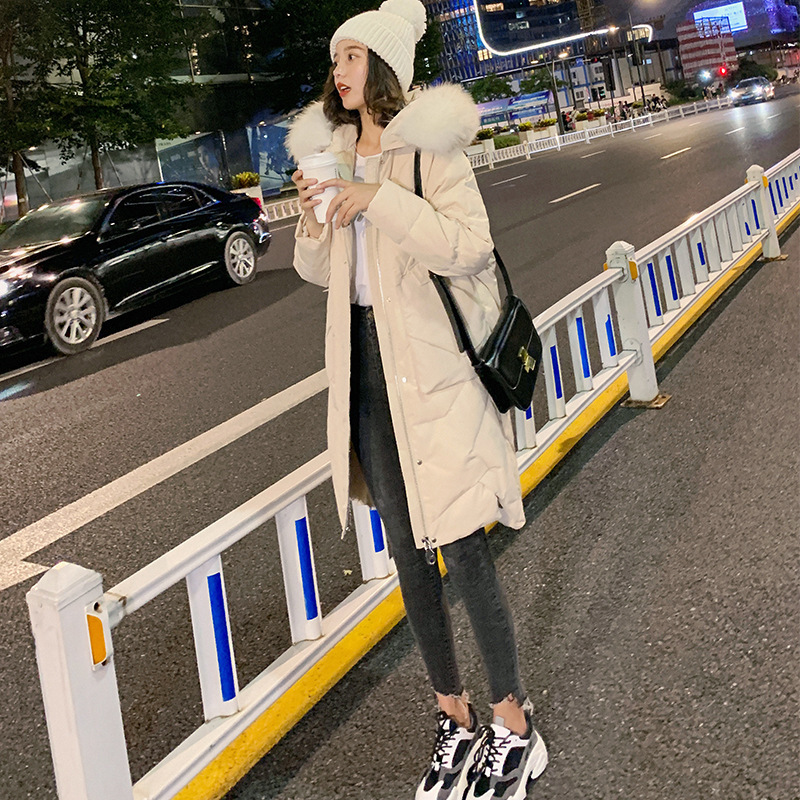Down   Jackets Girls Long Fund 2019 Winter Thickening Overknee Self-cultivation Thin Will Code Bai Yarong Suit-dress Loose   Coat