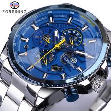 Forsining relógio masculino, azul oceano design prata aço 3 mostrador de calendário automático mecânico esporte relógios de pulso marca de luxo