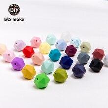 Lassen sie machen Silikon Multi faceted perlen 50 stücke 14mm Candy Farbe Perlen Baby Sichere DIY Können Kauen pflege Halskette Baby Beißring