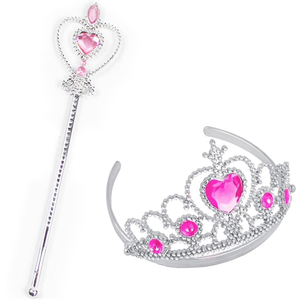 2 шт., вечерние аксессуары принцессы тиара для девочек, детские алмазные короны+ волшебные палочки, праздничный подарок на Рождество, косплей, вечерние игрушки - Цвет: PK