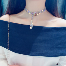 European and American Rhinestone Clavicle Chain Fashion Charm Womens Short Necklace High Quality Neck Jewelry Collar Item Belt