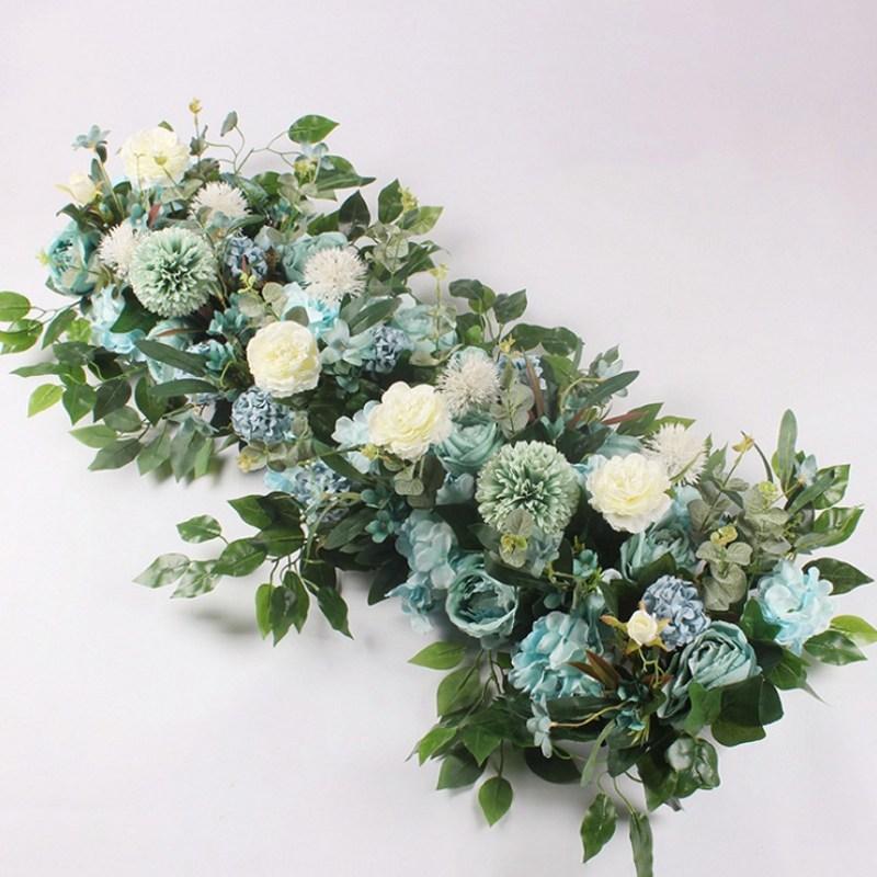 Fleur de soie avec Base en mousse fleur artificielle rangée hortensia Rose pour décoration de porte route de mariage cité fleurs fond de mur - 4