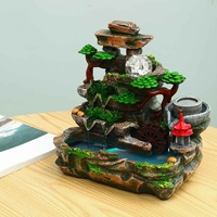 3W LED Fountain Water Table Figurine Miniature Relaxing Soothing Feature Ornament Indoor Office Home Decoration Crafts Gifts