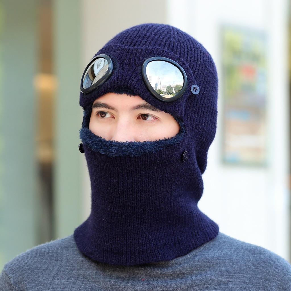 Double-use Thickened Winter Knitted Hat Warm Beanies Skullies Ski Wool Cap And Glasses For Men Women