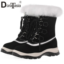цены DORATASIA New Big Size 34-41 Fur Boots Brand Cow Suede Lace Up Snow Boots Shoes Woman Casual Party Winter Warm Ankle Boots Women