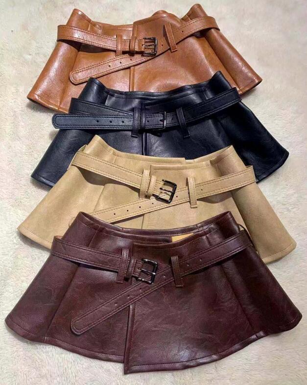 Women's Runway Fashion Pu Leather Cummerbunds Female Dress Corsets Waistband Belts Decoration Wide Belt R2619