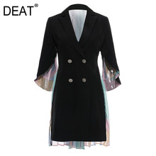 DEAT Women Back Colorful Pleated Trench New Lapel Long Sleeve Double Breasted Lo