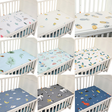Baby Bed Mattress Cover Soft Protector Cartoon Printed Newborn Baby Bedding For Cot 100% Cotton Crib Fitted Sheet Size 130*70cm promotion 6pcs cartoon baby bedding sets baby bumpers cot newborn cute crib sets 4bumper sheet pillowcase 120 60 120 70cm