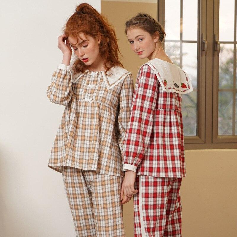 Pajama Woman Spring Autumn 100% Cotton Lady Long Sleeve Royal Cotton Bowknot Leisure Homewear Suit Lounge Intimate Lingerie