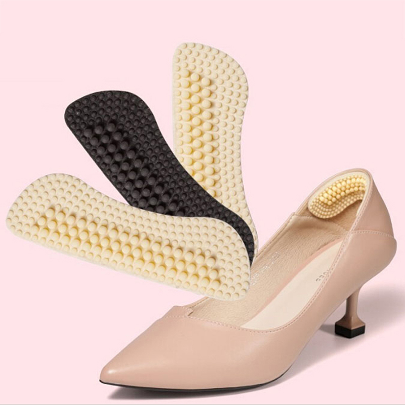 1Pair Fashion Soft Sticky Silica Gel Fabric Shoe Pads Massage Silicone Inserts Liner Grips Back Heel Insoles  Beige Black