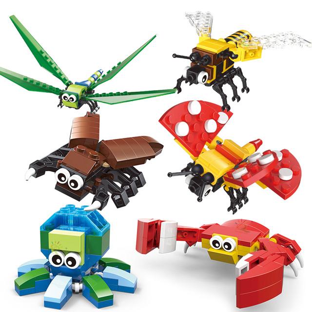 HUIQIBAO 6PCS/SET Insect Series Animal Building Blocks wrap classic city creator bricks set educational Toys for children gift