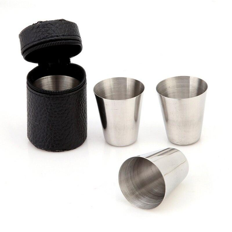 4 piezas 30ML hogar pequeño Acero inoxidable copa de vino Set té taza de café suministros para fiestas Cuenco de alimentación de bebé divertido juguete de doble mango a prueba de derrames taza galletas Snack Bowl regalo Niños Accesorios tazas u