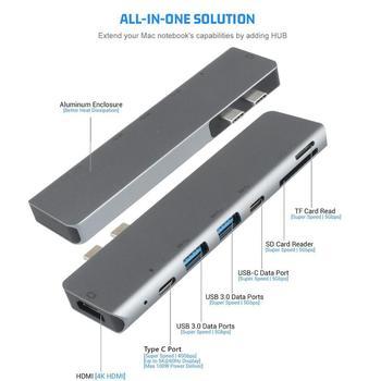 7w1 USB-C Hub HDMI Dual type-c Multiport czytnik kart Adapter 4K dla MacBook Air tanie i dobre opinie Phineli Zewnętrzny CN (pochodzenie) Wszystko w 1 Wiele w 1 Karta SD Type C