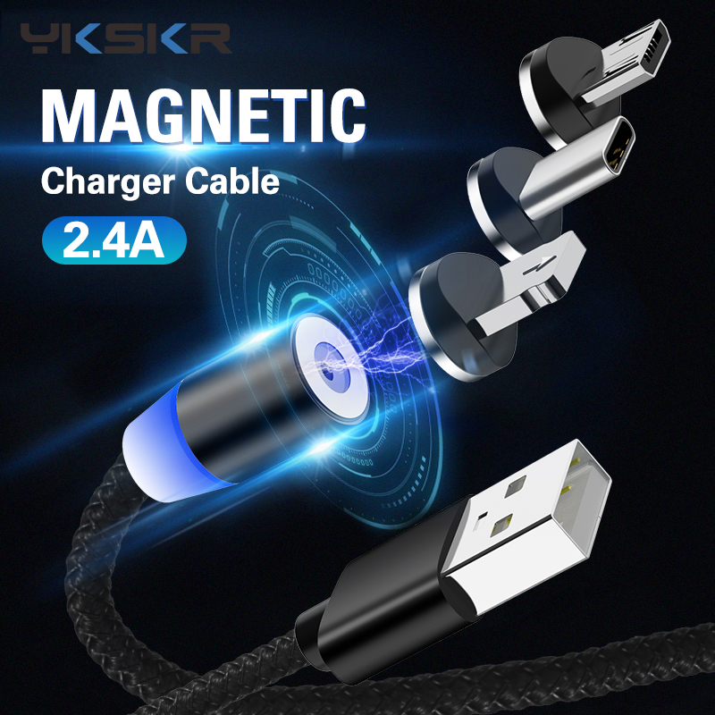 2.4A Magnetic USB Cable Fast Charging USB Type C Cable Magnet Charger Data Charge Micro USB Cable Mobile Phone Cable USB Cord