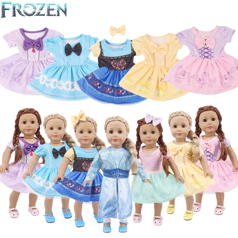Froezn Dsiney Doll Clothes Cartoon Elsa Princess Dress For 18 Inch American&43 Cm Baby New Born Zaps Doll Generation Girl`s Toy