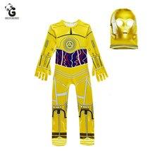 Kostiumy dla dzieci Movie Star Wars kostiumy Robot Cosplay dziecięcy kostium na Halloween dla dzieci Robot chłopcy nakrycia głowy karnawałowe ubrania