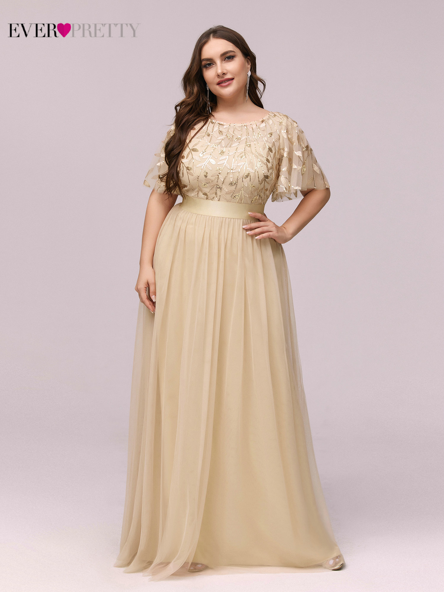 Evening-Dresses Sequined Tulle Ever Pretty A-Line Elegante Formal Long Plus-Size Vestido