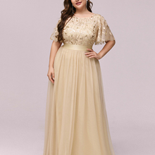 Party-Gown Evening-Dresses Ever Pretty Tulle Neck-Sequin A-Line Formal Elegant Long Plus-Size