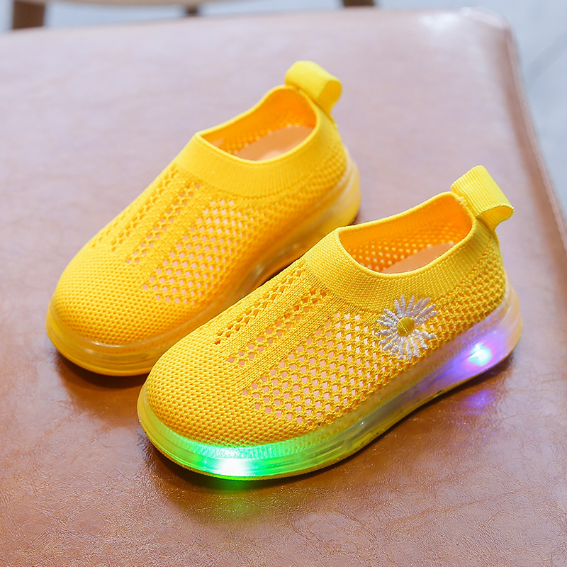 Children's Air Mesh LED Light Sports Shoes Summer Breathable Boys Girls Luminous Daisy Flower Sneakers Kids Toddler Baby Shoes