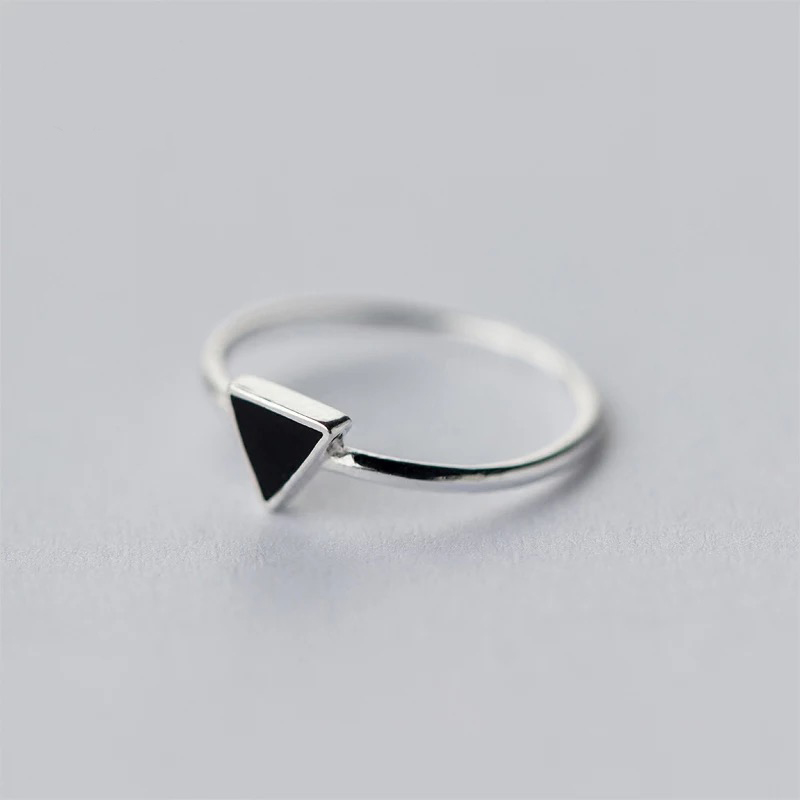 Real 925 Sterling Silver Geometric Black Enamel Triangle Adjustable Personalized Ring Fine Jewelry For Women
