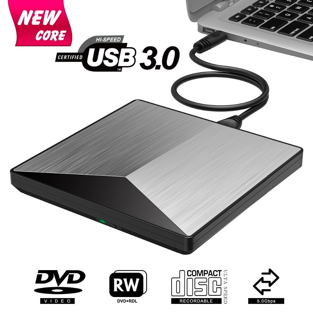 External DVD Drive USB 3.0 CD DVD +/-RW Burner Rewriter Player, Optical Superdrive High Speed Data Transfer For Laptop MacBook
